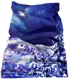 Competing for Attention Face Mask (single layer buff) - mountains and galaxy, snow, black strap, blackstrap