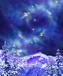 Artwork: Competing for Attention Face Mask (double buff) - mountains and galaxy, snow