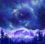 Competing for Attention artwork; mountain and galaxy