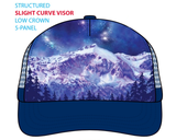 Competing for Attention Trucker Hat; mountain and galaxy