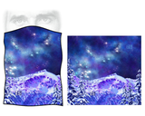 Competing for Attention Face Mask (single layer buff) - mountains and galaxy, stars, snow, black strap, blackstrap