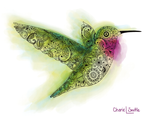 Hummingbird with Henna, Mandelbrot,  Paisley designs inside. colorado artist, colorado art, colorado artwork, hummingbird silhouette, bird silhouette