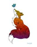 Fox with Henna and Paisley with some Mandelbrot mixed in. colorado artist, colorado art, colorado artwork, butterfly, butterflies, butterfly, fox silhouette, butterfly silhouette