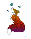 Fox with Henna and Paisley with some Mandelbrot mixed in. colorado artist, colorado art, colorado artwork, butterfly, butterflies, fox silhouette, butterfly silhouette