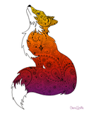 Fox with Henna and Paisley with some Mandelbrot mixed in. colorado artist, colorado art, colorado artwork, fox silhouette