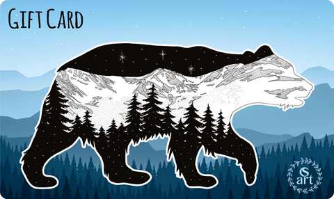 Gift Card - Amazing Day with Bear, mountains, trees, stars