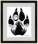 Wolf artwork, full moon, howling at the moon, mountains, stars, evergreen trees, colorado artist, colorado art, colorado artwork, dotwork art, stipple art, wolf silhouette, wolf paw silhouette, wolf footprint silhouette, big dipper art, little dipper art