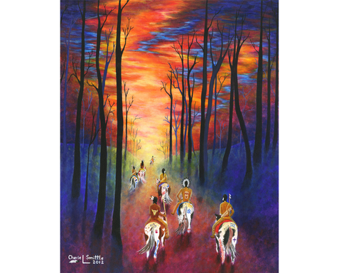 indian art, indian artwork, native american indian artwork, paint horses, painted horses, hunting party, indians, sunrise, sunset, warparty, war party, chief, colorado artist, colorado art, colorado artwork