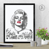 Marilyn Monroe wearing Moon of Baroda diamond caressed by roses, dotwork, stipple, illustration, celebrity face, Marilyn monroe artwork, rose artwork, roses art, moon of Baroda diamond