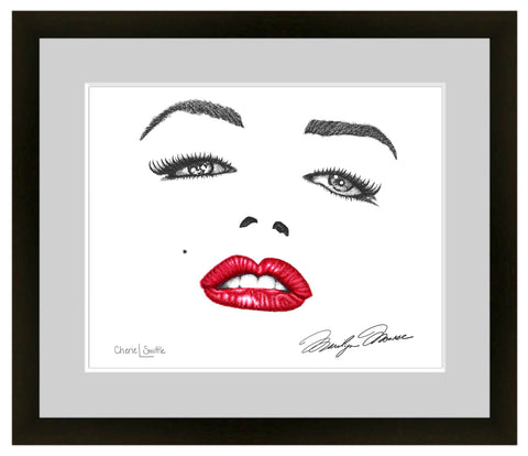 Marilyn Monroe Signature; Marilyn Monroe face, dotwork, stipple, illustration