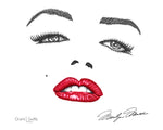 Marilyn Monroe, Marilyn Monroe Signature, Marilyn Monroe Face, dotwork, stipple, stippling, red lips