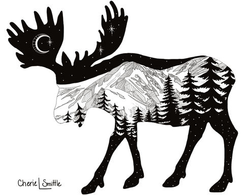Moose with mountain range and crescent moon. Moose artwork, full moon, mountains, stars, evergreen trees, colorado artist, colorado art, colorado artwork, dotwork, moose silhouette