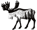 Artwork: Moose with mountain range and crescent moon.