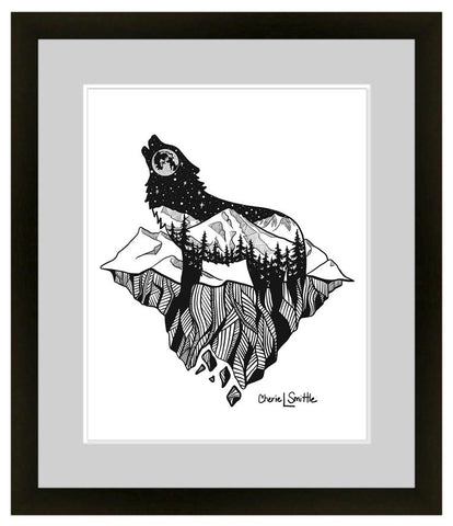 Mt. LEVAtation : Wolf artwork, full moon, howling at the moon, mountains, stars, evergreen trees, colorado artist, colorado art, colorado artwork, dotwork, wolf silhouette, wolf howling at the moon on a floating island