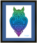 Meet Miss Priscilla WizeAz.  This owl is a smart ass, wise ass, smarty pants.  Owl with henna, owl with mandala, hidden star, owl silhouette, owl lover
