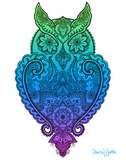 Artwork: Owl with mandala, henna and paisley inside.  Can you find the hidden star?