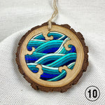 line art waves ornament, Japanese waves ornament, pyrography art, handmade ornament, hand painted ornament, hand crafted ornament, pine disc ornament, wood burned ornament, pyrography Christmas ornaments, watercolor ornament, wood burned art, Christmas ornament, pyrography ornament, hand painted ornaments