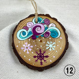 line art cloud and snowflakes ornament, pyrography art, handmade ornament, hand painted ornament, hand crafted ornament, pine disc ornament, wood burned ornament, pyrography Christmas ornaments, watercolor ornament, wood burned art, Christmas ornament, pyrography ornament, hand painted ornaments