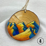 Colored Pencil Line Art Mountain Ornament, Wood Burned Line Art Mountain Ornament, Linework mountain ornament, line art mountain Christmas ornament, line drawing mountain ornament : handmade ornament, hand painted ornament, hand crafted ornament, pine disc ornament, wood burned ornament, pyrography Christmas ornaments, watercolor ornament, wood burned art, Christmas ornament, pyrography ornament, hand painted ornaments