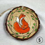 fox ornament, pyrography art, handmade ornament, hand painted ornament, hand crafted ornament, pine disc ornament, wood burned ornament, pyrography Christmas ornaments, watercolor ornament, wood burned art, Christmas ornament, pyrography ornament, hand painted ornaments