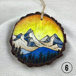 Line Art Mountain Christmas Ornament, Watercolor Mountain Ornament, Linework Ornament : handmade ornament, hand painted ornament, hand crafted ornament, pine disc ornament, wood burned ornament, pyrography Christmas ornaments, watercolor ornament, wood burned art, Christmas ornament, pyrography ornament, hand painted ornaments