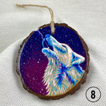 Hand Painted Wolf Ornament : handmade ornament, hand painted ornament, hand crafted ornament, pine disc ornament, wood burned ornament, pyrography Christmas ornaments, watercolor ornament, wood burned art, Christmas ornament, pyrography ornament, hand painted ornaments