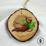 grapes ornament, wine ornament, pyrography art, handmade ornament, hand painted ornament, hand crafted ornament, pine disc ornament, wood burned ornament, pyrography Christmas ornaments, watercolor ornament, wood burned art, Christmas ornament, pyrography ornament, hand painted ornaments