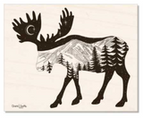 Natural Maple Wood : Moose with mountain range and crescent moon. Moose artwork, full moon, mountains, stars, evergreen trees, colorado artist, colorado art, colorado artwork, dotwork, moose silhouette
