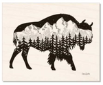Natural Maple Wood : Buffalo, bison with the Grand Teton mountain range inside.  Can you find the big dipper? colorado artist, colorado art, colorado artwork, montana art, tetons,  buffalo silhouette, bison silhouette