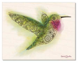 Natural Wood: Hummingbird with Henna, Mandelbrot, Paisley designs inside. colorado artist, colorado art, colorado artwork, hummingbird silhouette, bird silhouette