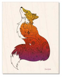 Wood : Fox with Henna and Paisley with some Mandelbrot mixed in. colorado artist, colorado art, colorado artwork, fox silhouette
