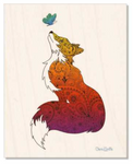 Wood : Fox with Henna and Paisley with some Mandelbrot mixed in. colorado artist, colorado art, colorado artwork, butterfly, butterflies, butterfly, fox silhouette, butterfly silhouette