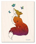 Wood : Fox with Henna and Paisley with some Mandelbrot mixed in. colorado artist, colorado art, colorado artwork, butterfly, butterflies, fox silhouette, butterfly silhouette