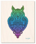 Wood : Meet Miss Priscilla WizeAz. This owl is a smart ass, wise ass, smarty pants. Owl with henna, owl with mandala, hidden star, owl silhouette, owl lover