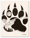 Bear artwork, bear paw, mountains, stars, evergreen trees, colorado artist, colorado art, colorado artwork, dotwork, bear silhouette, bear paw silhouette
