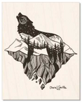 New Design (Island Night Wolf) : Wolf artwork, full moon, howling at the moon, mountains, stars, evergreen trees, colorado artist, colorado art, colorado artwork, dotwork, wolf silhouette, wolf howling at the moon on a floating island