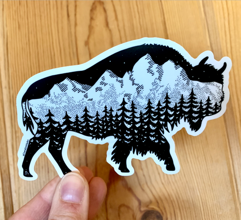 Teton Buffalo Sticker - featuring the Grand Tetons and a Buffalo (Bison)