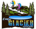 Artwork: St. Marys Glacier Colorado, hikers, snowshoeing, backpackers.