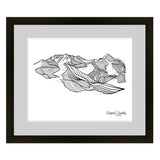 Telluride line art, mountain line art, colorado artist, colorado mountain art, ski resort line art