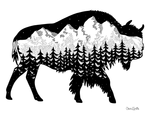 Buffalo, bison with the Grand Teton mountain range inside.  Can you find the big dipper? colorado artist, colorado art, colorado artwork, montana art, tetons,  buffalo silhouette, bison silhouette