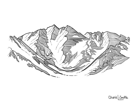 Aspen Highlands Bowl line art, mountain Line drawing, aspen line art, aspen ski resort line art, aspen mountain line art, colorado mountain art, colorado artist, colorado art