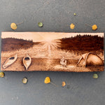 pyrography art : wood burned lake, pyrography lake, wood burning art, wood burned fire, pyrography fire, wood burned tent, pyrography tent, wood burned water, pyrography water, burned bonfire, pyrography bonfire