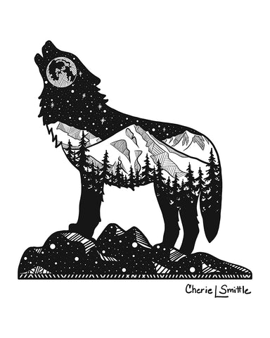 New Design (Eva Night Wolf) : Wolf artwork, full moon, howling at the moon, mountains, stars, evergreen trees, colorado artist, colorado art, colorado artwork, dotwork, wolf silhouette, Mt. Eva coordinates, lupus constellation