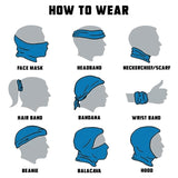 How to wear neck gaiter: there are actually many ways you can wear the neck tube and lots of videos on YouTube. Here are just a few common ways: mask, headband, bandana, beanie, hankerchief, scarf, balacava, hood, etc...