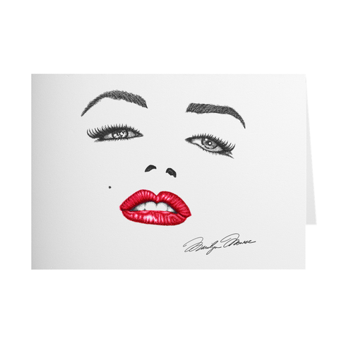 Marilyn Monroe Signature Greeting Card; Greeting Card, colorado artist, colorado art, colorado artwork, Marilyn Monroe card, celebrity face card, lips card, eyes card, Marilyn Monroe greeting card, Marilyn Monroe Signature greeting card, lips greeting card, card with Marilyn Monroe, card with Marilyn Monroe Signature, thank you card, congratulations card