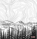 Mt. Eva with Contour Lines blanket, colorado landscape blanket, colorado landscape fleece blanket, contour lines blanket, contour lines fleece blanket, hand drawn mountain blanket, colorado artist, colorado art, colorado artwork, colorado blanket, colorado mountain blanket