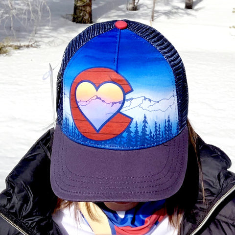 Colorado Love Trucker Hat; Colorado Flag, Colorado Art, Colorado Artwork, Wood grain C with Heart and mountains