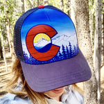 Colorado Mountains Trucker Hat; Colorado Flag, Colorado Art, Colorado Artwork, Wood grain C and mountains