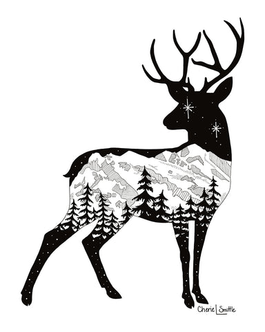 Deer with mountain range and stars. deer artwork, mountains, stars, evergreen trees, colorado artist, colorado art, colorado artwork, dotwork, deer silhouette, buck silhouette, doe silhouette