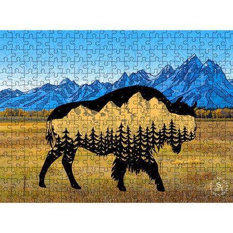 bison puzzle, bison jigsaw puzzle, buffalo puzzle, buffalo jigsaw puzzle, educational puzzle, puzzle art, family fun puzzle